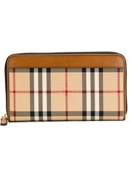 Burberry 'Renfrew' Horseferry Check Wallet Nude And Neutrals