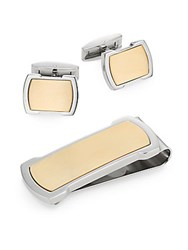 Lotus Money Clip And Cuff Link Set Silver