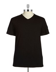 Black Brown V Neck Tee Black