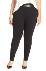 Plus Size Women's Junarose Faux Leather Trim Leggings