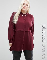 Elvi Plus Double Layer Shirt With Collar Tips Maroon Red