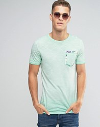 Jack And Jones T Shirt With Floral Pocket Detail Green