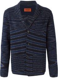 Missoni Striped V Neck Cardigan Blue