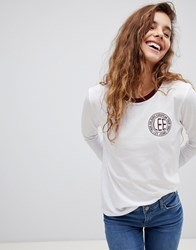 Logo Long Sleeved Ringer T Shirt White