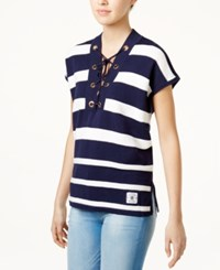 Tommy Hilfiger Cotton Striped Lace Up Tunic Only At Macy's Navy Ivory