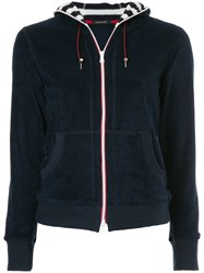 Loveless Velour Zipped Hoodie Blue