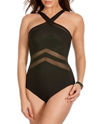 Miraclesuit Solid Mesh One Piece Swimsuit Black