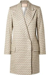 Brock Collection Claire Embroidered Cotton And Silk Blend Brocade Coat Light Gray