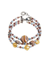 Antica Murrina Veneziana Millerighe Pastel Multicolor Murano Glass W Stripes And Gold Leaf Bracelet