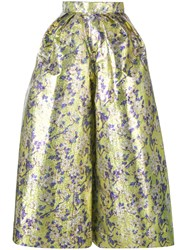 Delpozo Floral Print Cropped Wide Leg Trousers Women Silk Cotton Polyester 36 Yellow Orange