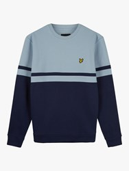 Lyle And Scott Panel Stripe Crew Neck Jumper Blue Dust Navy