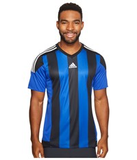 Adidas Striped 15 Jersey Bold Blue Black White Men's Short Sleeve Pullover