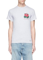 Bedwin And The Heartbreakers 'Ralph' Rose Print T Shirt Grey