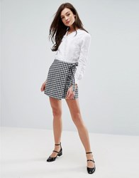 Fashion Union Wrap Front Skirt In Gingham Gingham Multi