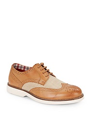 Ben Sherman Ronnie Leather And Textile Wingtip Saddle Shoes Tan