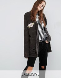 Reclaimed Vintage Distressed Boyfriend Cardigan With Mom Patch Charcoal Black