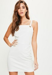 Missguided White Faux Leather Eyelet Trim Bodycon Dress