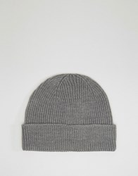 Asos Fisherman Beanie In Grey Marl Grey