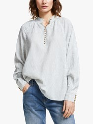 And Or Ivy Stripe Blouse Ivory Black