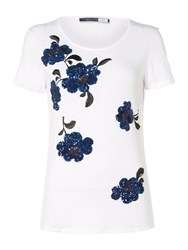 Sportmax Code Jersey T Shirt With Sequin Floral Embelishment Optical White