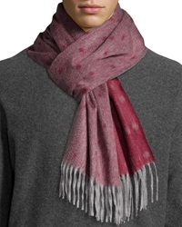 Begg And Co Graduated Spot Cashmere Scarf W Fringe Wine