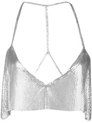 Fannie Schiavoni Sequin Embroidered Top Silver