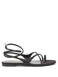 Saint Laurent Gia Crystal Embellished Satin Sandals Black