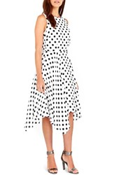 Wallis Women's Dot Print Handkerchief Hem Dress Ivory