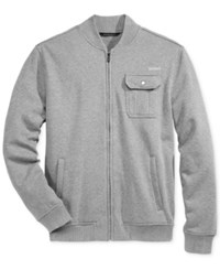Sean John Men's Zip Front Fleece Bomber Jacket Medium Grey Heather