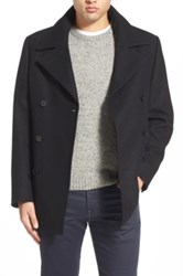 Nordstrom Wool Blend Double Breasted Peacoat Black