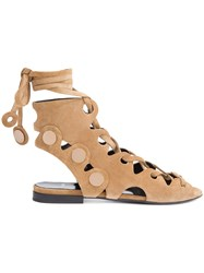 Pierre Hardy Penny Lace Sandals Brown