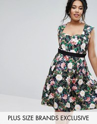 Paper Dolls Plus Floral Printed Sweetheart Prom Dress Multi
