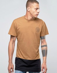 Friend Or Faux Militia Longline T Shirt With Panel Brown