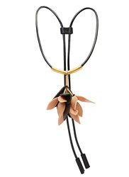 Marni Leather Cord Flower Pendant Necklace Black