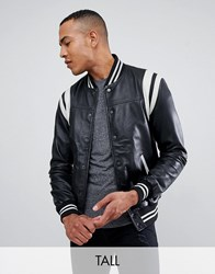 Barney's Originals Tall Real Leather Varsity Jacket With Panelling Black