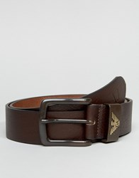 Armani Jeans Leather Belt In Brown Brown