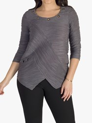 Chesca Faux Wrap Wavy Line Ripple Tunic Top Grey