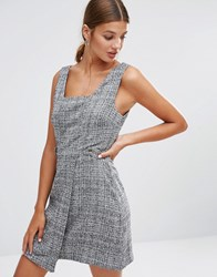 New Look Wrap Skirt Pinafore Dress Charcoal Grey