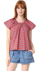 Opening Ceremony Printed Flutter Sleeve Top Cantaloupe Multi