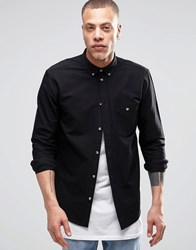 Weekday Bad Times Oxford Shirt Buttondown In Black Black 09 090