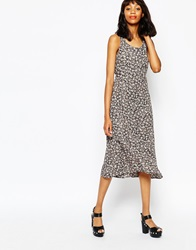 Monki Floral Dress With Lace Back Pinkyellowish