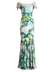 Dolce And Gabbana Hydrangea Print Embellished Cady Gown Green Print