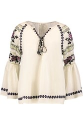 Suno Pleated Embroidered Cotton Broadcloth Blouse Ivory