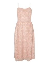 John Zack Strappy Lace Midi Dress Pink