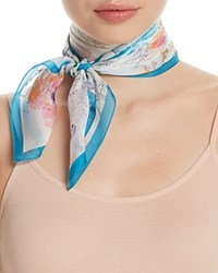 Fraas Floral Silk Square Scarf Turquoise