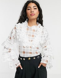 Sister Jane Blouse With Ruffle Detail In Sheer Organza Check White