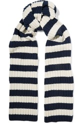 J.Crew Striped Ribbed Cashmere Scarf Storm Blue