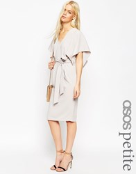 Asos Petites Angel Kimono Sleeve Belted Pencil Dress Silver