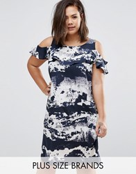 Ax Paris Plus Dress With Cold Shoulder And Ruffle Detail In Tie Dye Print Blue Multi