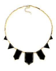 House Of Harlow Black Geometric Station Necklace Black Gold